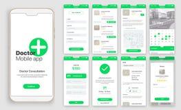 Projeto de app móvel, UI, UX, GUI ilustração stock
