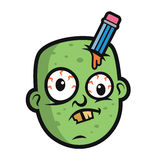 Projeto de Art Funny Zombie Head Character Imagens de Stock Royalty Free