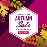 Projeto de Autumn Sale Promoting Poster Template ilustração stock
