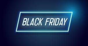 Projeto de Black Friday com quadro claro de néon Fundo do vetor para o evento de venda sazonal de novembro com texto de incandesc ilustração royalty free