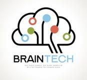 Projeto de Brain Tech Mind Data Logo ilustração do vetor