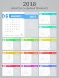 projeto de 2018 calendários ilustração stock