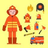 Projeto de caráter do bombeiro com os ícones do bombeiro ajustados Elementos do bombeiro para o gráfico da informação Ilustração  ilustração stock