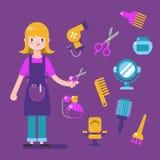 Projeto de caráter do cabeleireiro com os ícones do equipamento do barbeiro ajustados Elementos do estilista para o gráfico da in ilustração royalty free