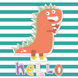 Projeto de caráter do dinossauro para a forma do bebê Cópia das crianças dos ts-hirt Fotos de Stock Royalty Free