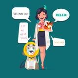 Projeto de caráter veterinário bonito Gato com pata e o cão doentes em ilustração royalty free