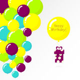 Projeto de cartão colorido do feliz aniversario Imagem de Stock Royalty Free
