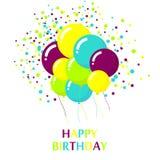Projeto de cartão colorido do feliz aniversario Imagens de Stock Royalty Free