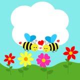 Projeto de cartão com abelha e flor Fotos de Stock Royalty Free