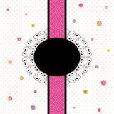 Projeto de cartão com o ponto colorido da flor e de polca Imagens de Stock