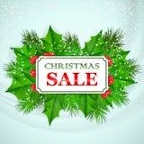 Projeto de cartão da venda do Natal com azevinho e abeto Imagem de Stock
