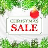 Projeto de cartão da venda do Natal com ramos do abeto Imagem de Stock Royalty Free