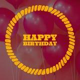 Projeto de cartão do aniversário com fundo do balão imagens de stock