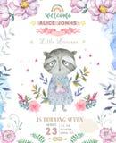 Projeto de cartão do aniversário do cumprimento com guaxinim bonito Ilustração da aguarela Flores cor-de-rosa de Boho e ramalhete ilustração royalty free