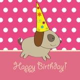 Projeto de cartão do aniversário do filhote de cachorro Imagens de Stock