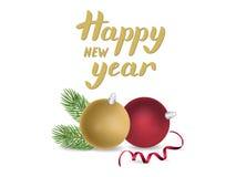 Projeto de cartão do ano novo com rotulação dourada, ramo de árvore do abeto, dezembro Fotos de Stock