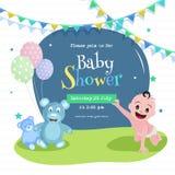 Projeto de cartão do cartaz ou do convite da festa do bebê com bebê bonito, urso de peluche e detalhes do evento ilustração do vetor