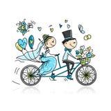 Projeto de cartão do casamento Equitação dos noivos na bicicleta ilustração stock