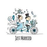 Projeto de cartão do casamento Equitação dos noivos na bicicleta ilustração do vetor