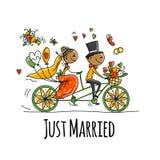 Projeto de cartão do casamento Equitação dos noivos na bicicleta ilustração royalty free