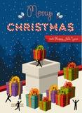 Projeto de cartão do conceito dos trabalhos de equipa do Natal Foto de Stock