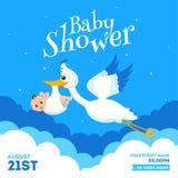 Projeto de cartão do convite da festa do bebê com detalhes de levantamento do infante e do evento da cegonha ilustração royalty free