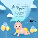 Projeto de cartão do convite do partido da boa vinda do bebê com rapaz pequeno bonito, balões e detalhes do evento ilustração do vetor