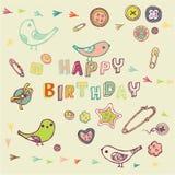 Projeto de cartão do feliz aniversario Fotos de Stock