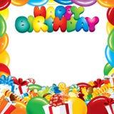 Projeto de cartão do feliz aniversario Fotografia de Stock