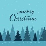 Projeto de cartão do Feliz Natal com floresta e modo do inverno Imagens de Stock Royalty Free