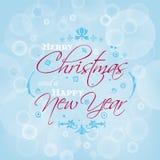 Projeto de cartão do Feliz Natal e do ano novo feliz com efeito do bokeh Imagem de Stock