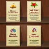 Projeto de cartão do Feliz Natal no fundo de madeira Fotos de Stock