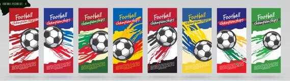 Projeto de cartão do futebol, grupo do vetor do futebol Imagens de Stock