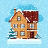 Projeto de cartão do inverno com casa e árvores Foto de Stock