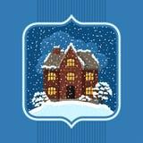 Projeto de cartão do inverno com casa e árvores Fotos de Stock Royalty Free