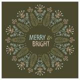 Projeto de cartão do Natal Alegre e brilhante Ilustração desenhada mão do vetor Foto de Stock Royalty Free