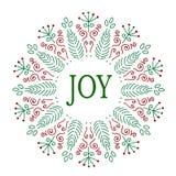 Projeto de cartão do Natal alegria Ilustração desenhada mão do vetor Fotos de Stock Royalty Free