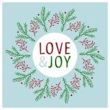 Projeto de cartão do Natal Amor e alegria Ilustração desenhada mão do vetor Foto de Stock Royalty Free