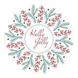 Projeto de cartão do Natal Azevinho agradavelmente Ilustração desenhada mão do vetor Fotos de Stock Royalty Free