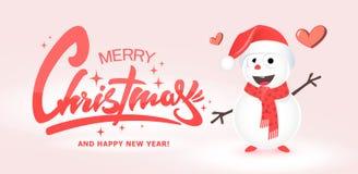 Projeto de cartão do Natal com boneco de neve, ilustração do vetor fotografia de stock