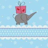 Projeto de cartão do Natal do elefante e do presente Fotos de Stock Royalty Free