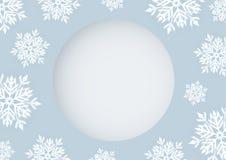 Projeto de cartão do Natal do floco de neve branco com espaço da cópia ilustração do vetor