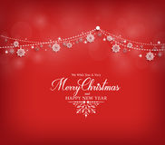 Projeto de cartão dos cumprimentos do Feliz Natal com flocos da neve Imagem de Stock Royalty Free