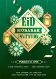 Projeto de cartão de Eid Mubarak Invitation decorado com suspensão de lanternas iluminadas douradas ilustração royalty free