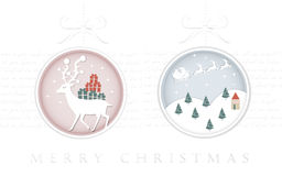 Projeto de cartão elegante do Natal na forma da quinquilharia Foto de Stock Royalty Free