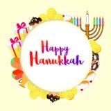 Projeto de cartão feliz com caixas de presente, candelabro do Hanukkah ilustração stock