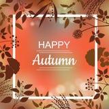 Projeto de cartão feliz do outono Fotos de Stock Royalty Free
