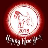 Projeto de cartão festivo chinês com cão bonito, símbolo do vetor do ano novo 2018 do zodíaco de uma tradução de 2018 anos de tex Fotos de Stock Royalty Free