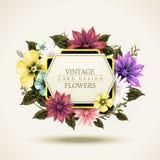 Projeto de cartão floral atrativo do vintage ilustração royalty free