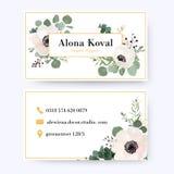 Projeto de cartão floral Eucalipto g da flor da anêmona do vintage ilustração royalty free